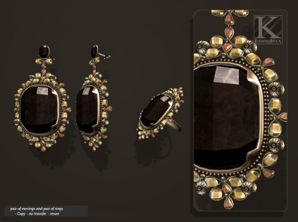(Kunglers) Aphrodite earring obsidian AD