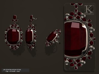 (Kunglers) Aphrodite earring ruby AD