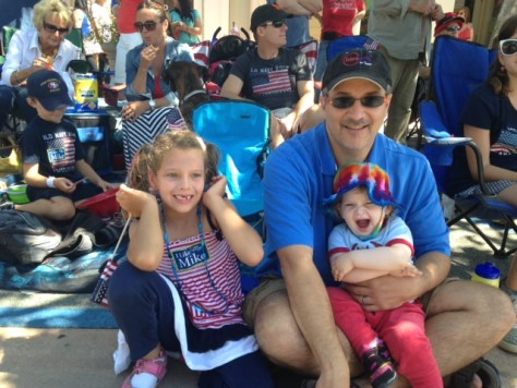 Peyton and Skylar with me at the local  July 4th Parade, 2014.
