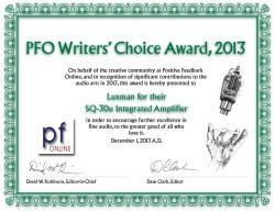 PFO Writers' Choice Award 2013 - Luxman SQ-30u