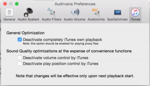 Audirvana iTunes Preferences