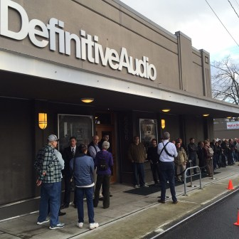 Who would believe that a HiFi dealer would draw such a crowd waiting to attend their event?