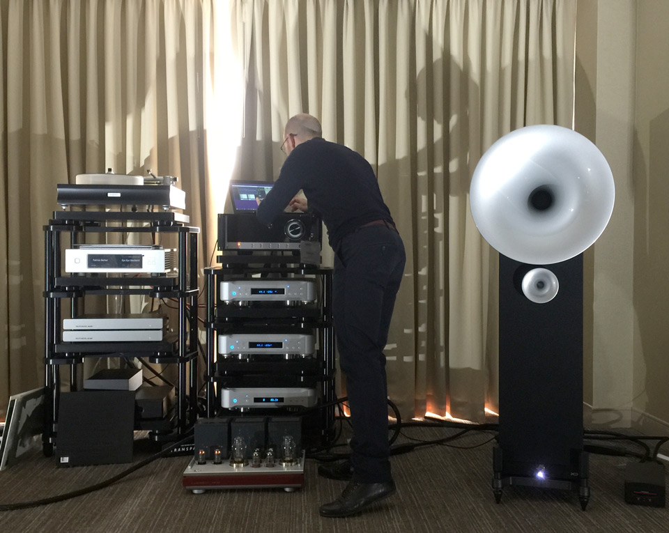 Jerome Andre from AvantGarde hooking up the LUXMAN MQ-300 to a pair of Avant Garde Uno for informal after hours listening session