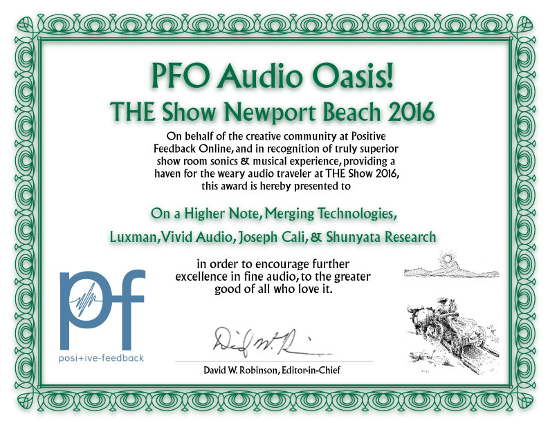 Audio Oasis Award from PFO for On a Higher Note's Pelican Hill Room at T.H.E. Show 2016