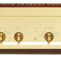"In 1993 Luxman's L-500 introduced a dramatically improved aesthetic outside the box while inside the box we find the ""ultimate attenuator""; a large composite housing holding two PCB's etched with 32 non magnetic ""P"" shaped gold resistors. Dubiously this was the first year Luxman dropped a phono stage from the amplifiers list of capabilities. Remember ""Perfect sound forever""? How can we ever forget!"