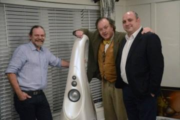 Laurence Dickie, Philip O'Hanlon and George Vatchnadze with Vivid G1 Spirit loudspeaker
