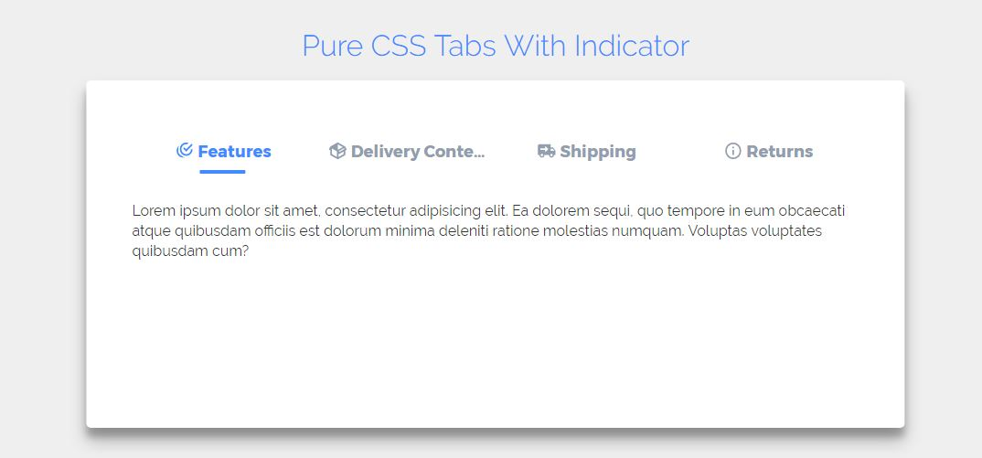 CSS Tab Menu With Indicator