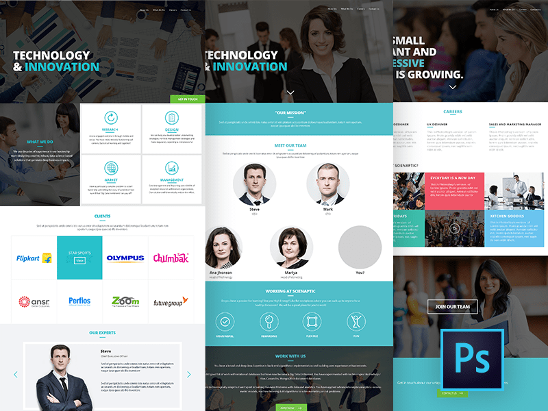 Corporate Website Design - Free PSD