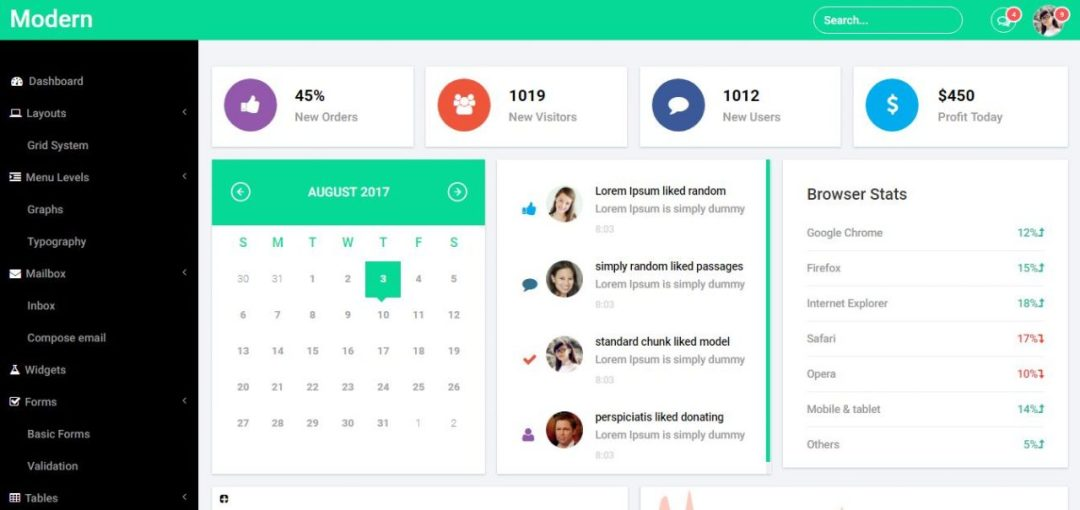 Modern Bootstrap Admin Panel