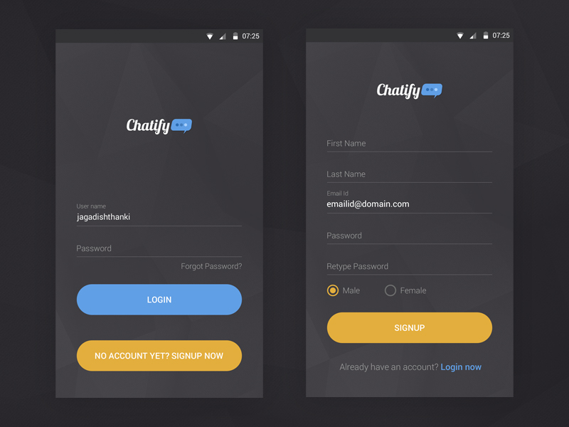 Simple Login Signup for Android Dark Theme By Jagadish Thanki