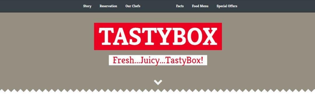 TastyBox Landing Page Menu