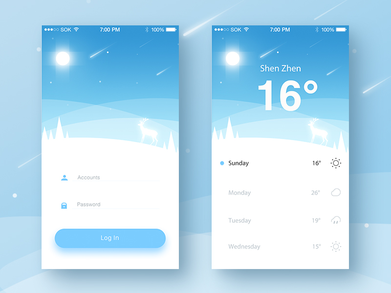 Weather Material Mobile Login App By Ruki