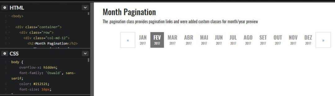 Bootstrap Month Pagination