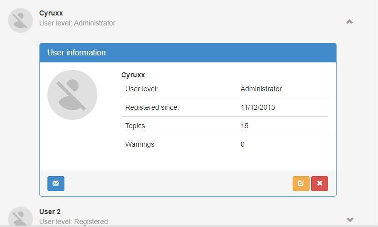 Dropdown User list plus Administration