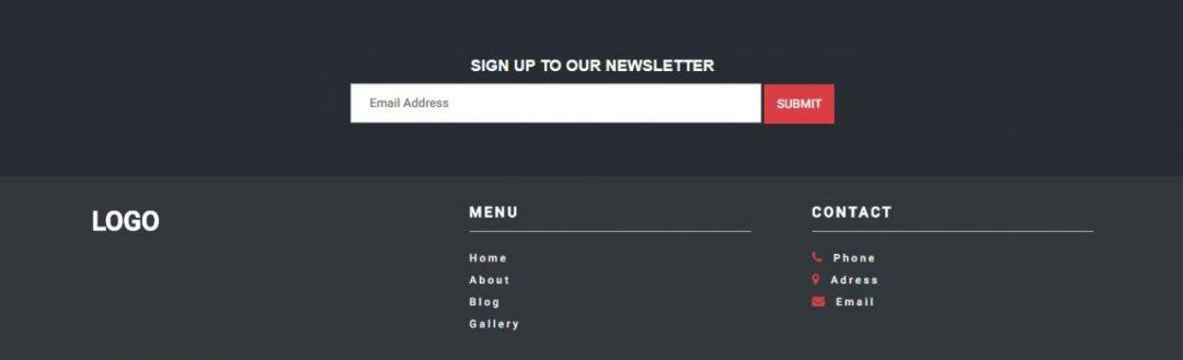 Footer Menu Newsletter
