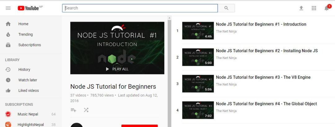 Node JS Tutorials for Beginners (YouTube)