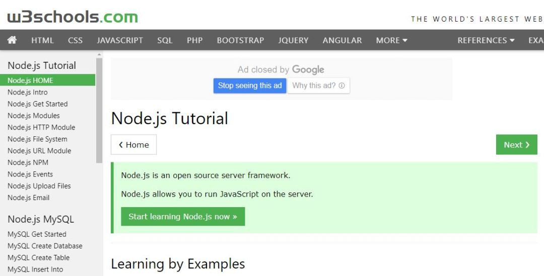 Node.js Tutorial (W3Schools)