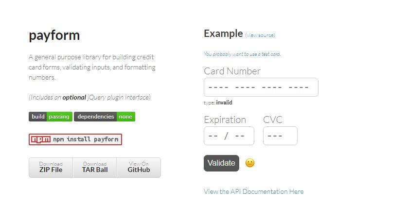 PAYFORM -Credit Card FormsValidating