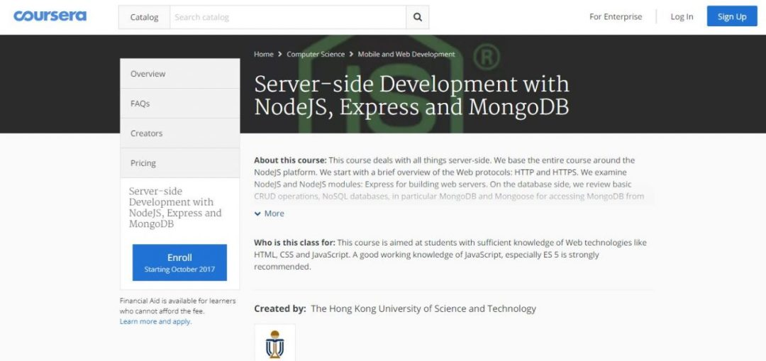 Server-side Development with NodeJS, Express and MongoDB (Coursera)