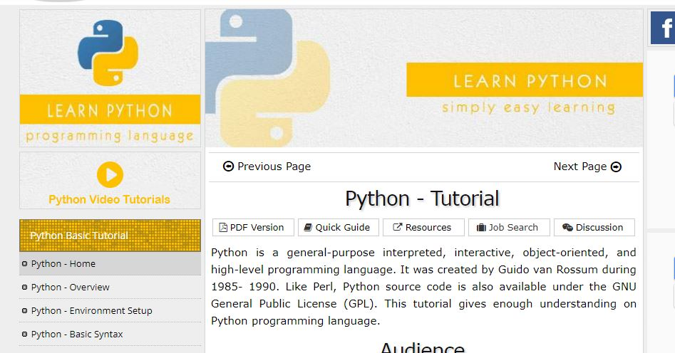 Tutorials Point - Best Resources to Learn Python Programming Language