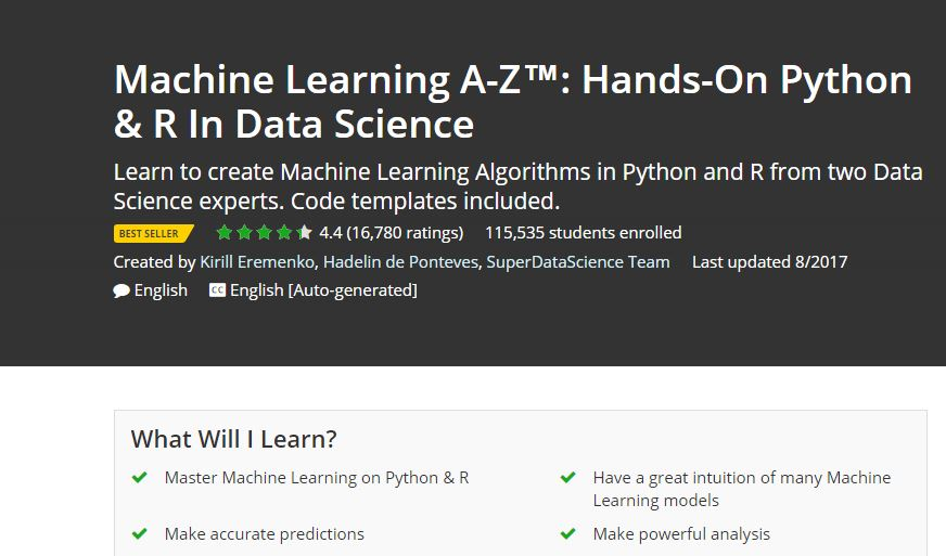 UDEMY - Best Place to Learn Machine Language Online
