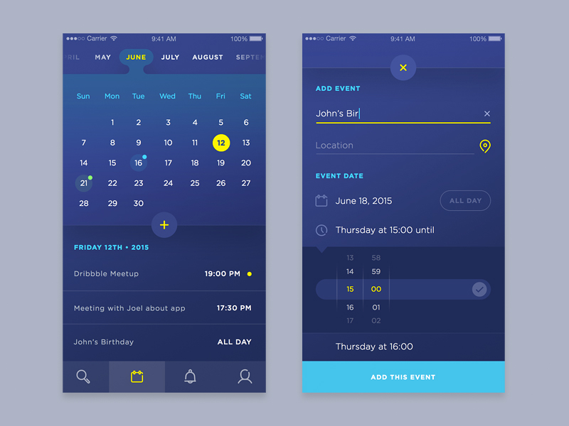 Calendar/Event UI