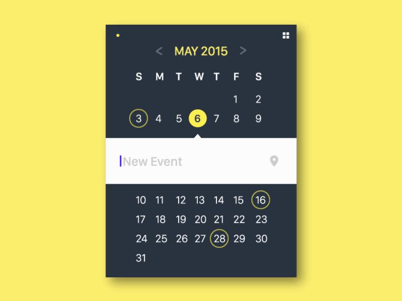 Calendar Widget UI Mockup