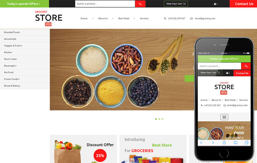 Grocery Store Free Bootstrap Ecommerce Templates and Themes