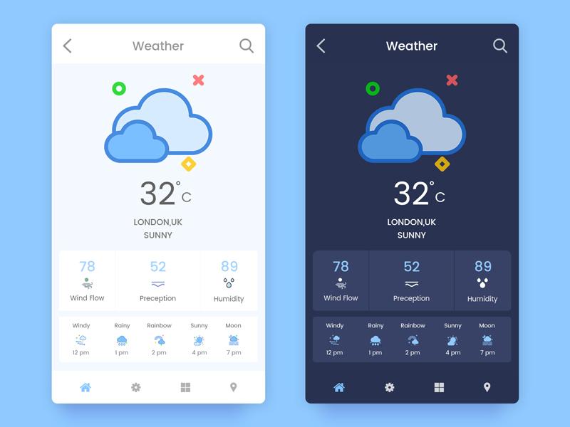 Weather App White and Dark Screen