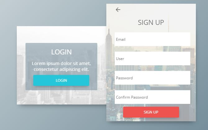 Login and Sign Up Form Concept