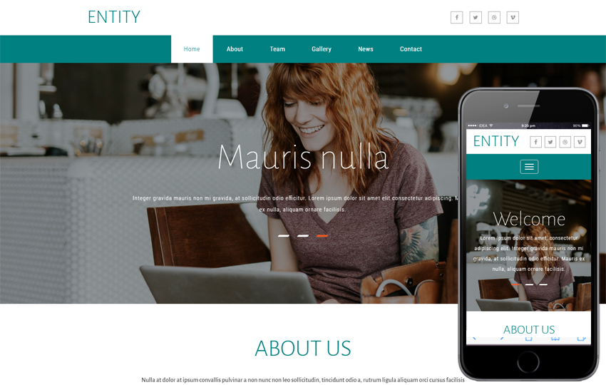 Entity - Corporate Bootstrap Responsive Template