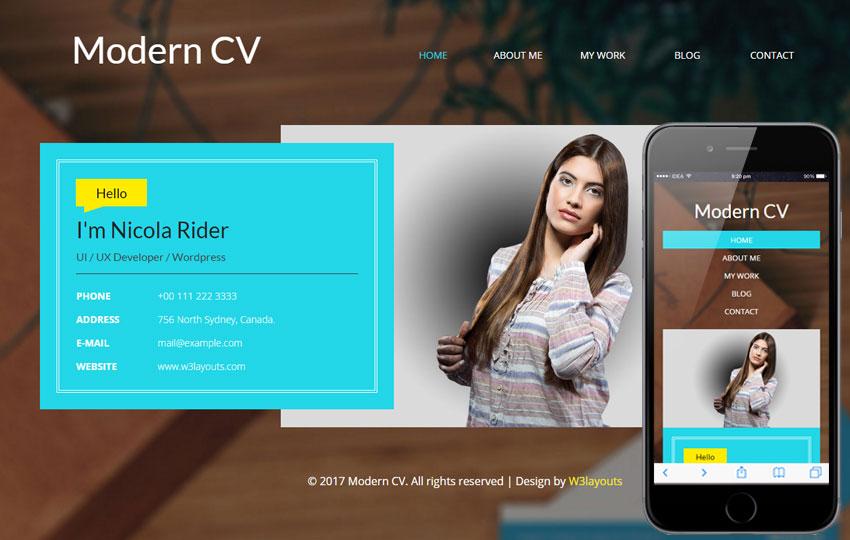 Modern CV - Personal Mobile Web Template