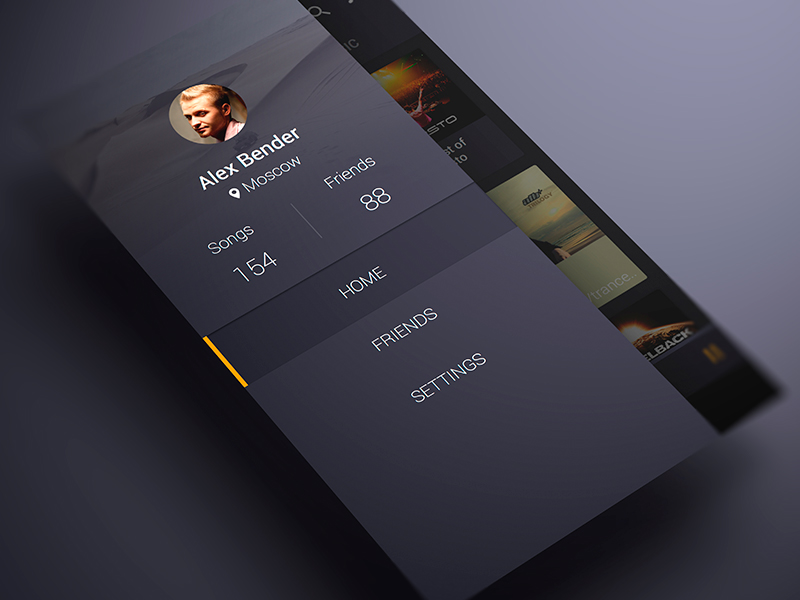 Android Music App Material Design Sidebar