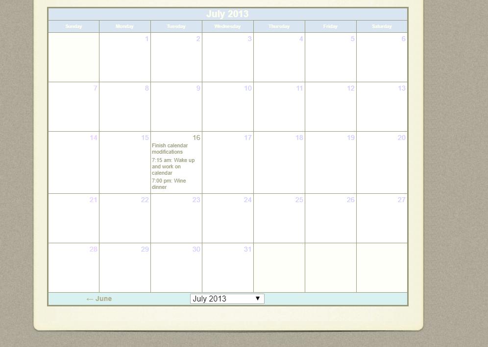 Kevin's JavaScript Event Calendar