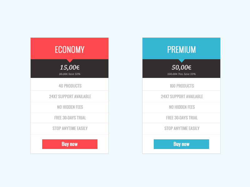Pricing Tables by Micael Teixeira