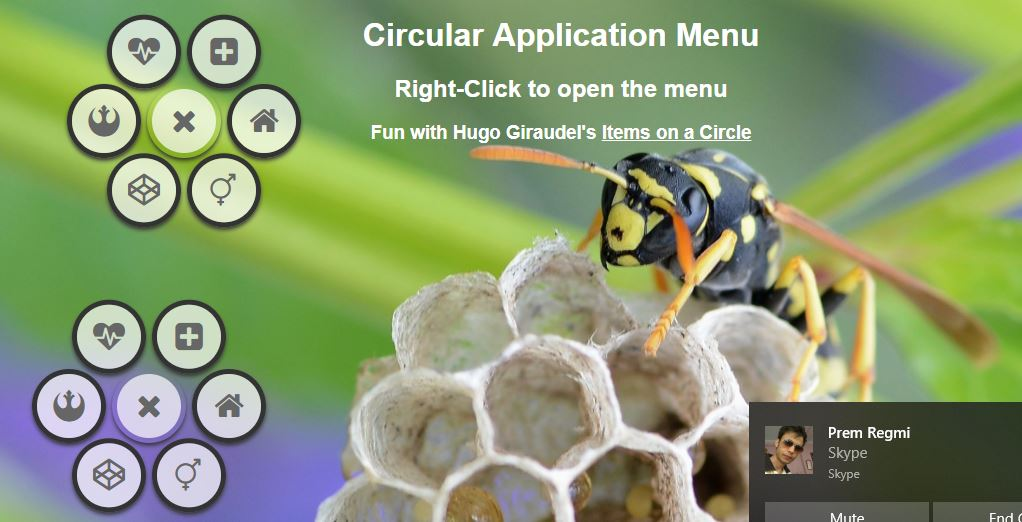 Right Click Circular Menu