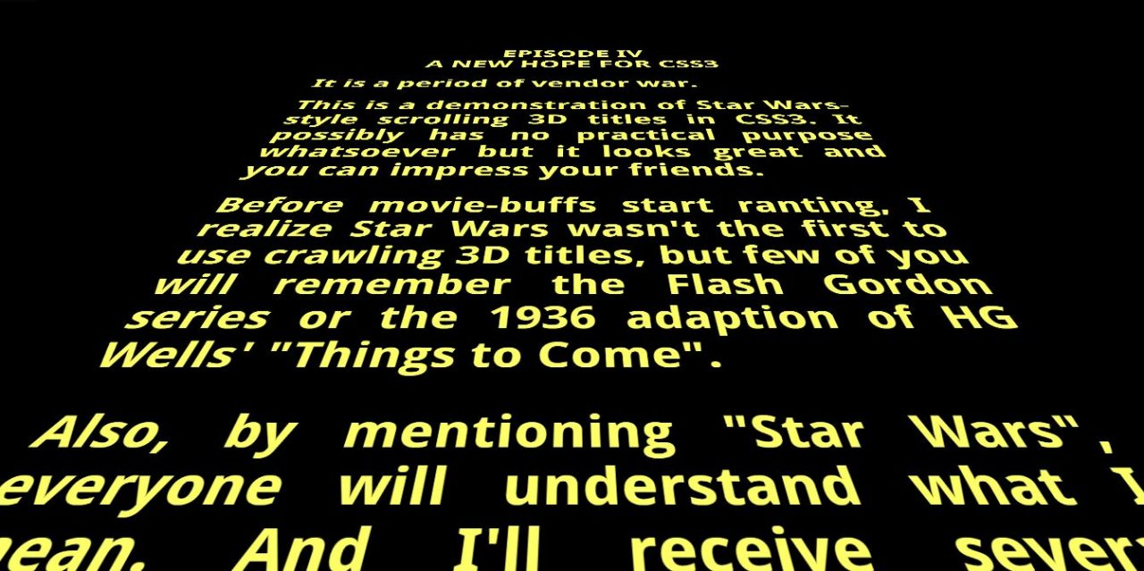 Scrolling Star Wars Text in 3D with CSS3