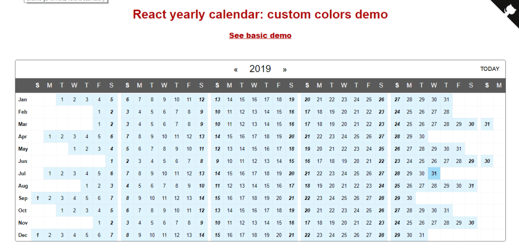 React week wise calendar view