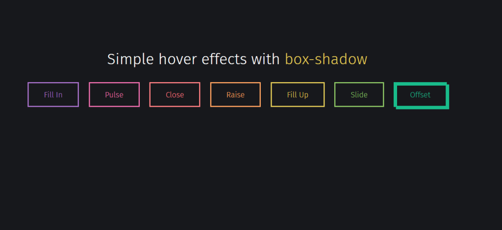 Button hover effects with box-shadow