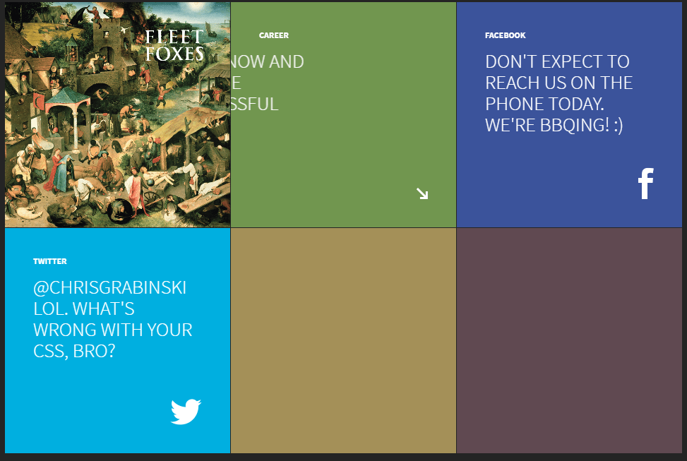 Tiles with animated