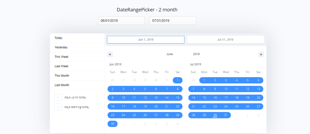 React date range picker