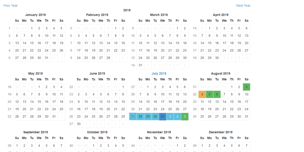 React calendar yearly view