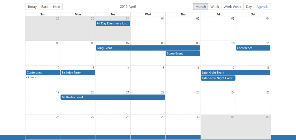 React native calendar monthly view