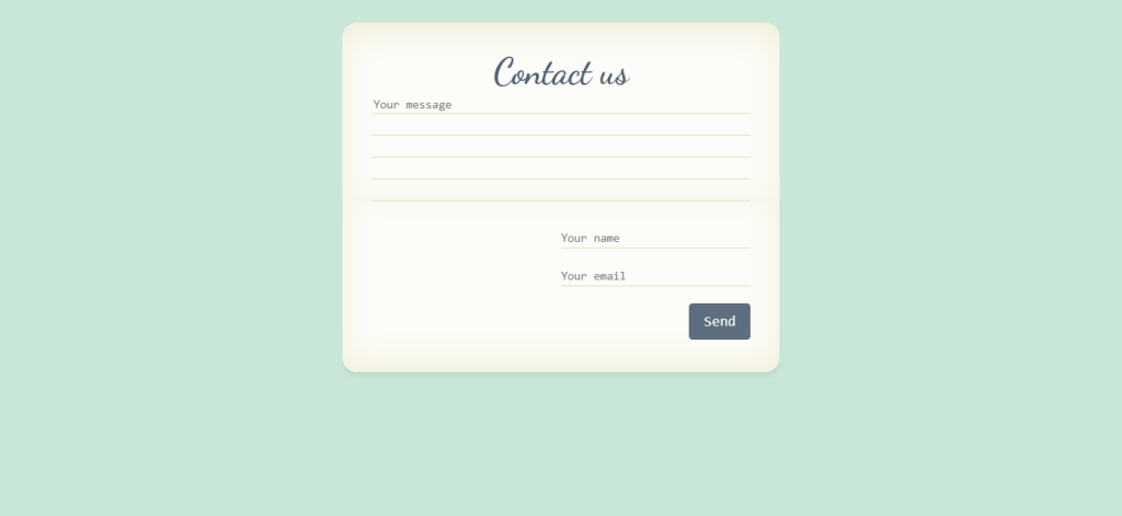 Contact us form with animation