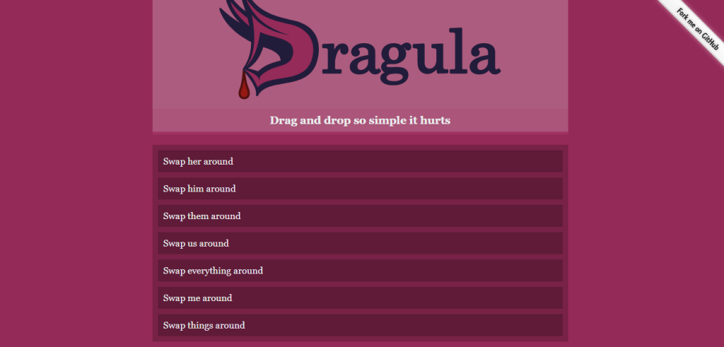 Dracula drag and drop using reactjs