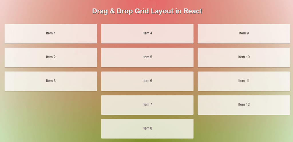 Grid view react drag and drop