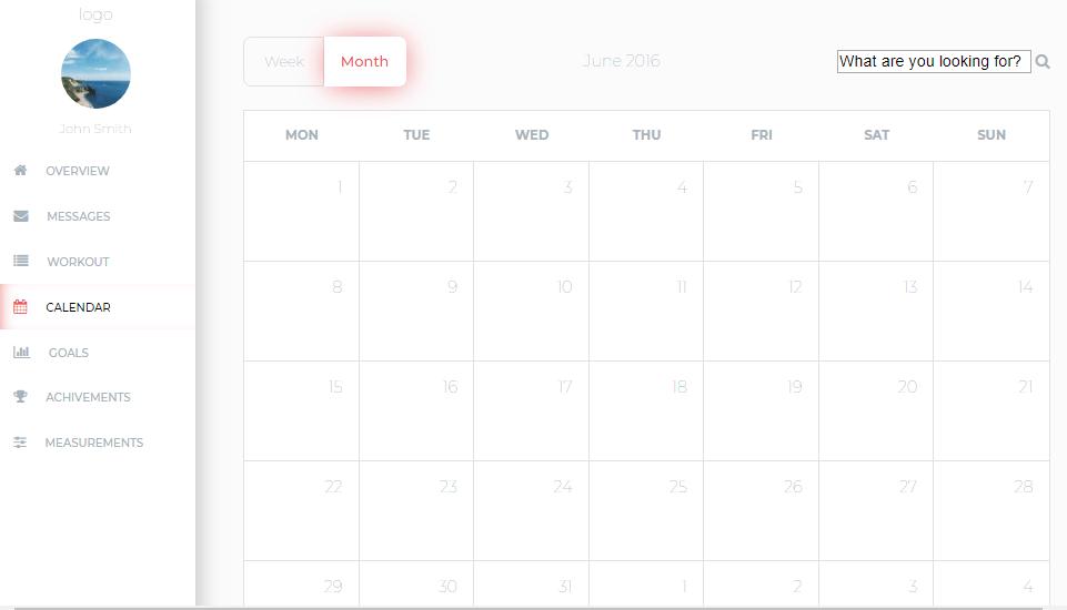 calendar for admin template