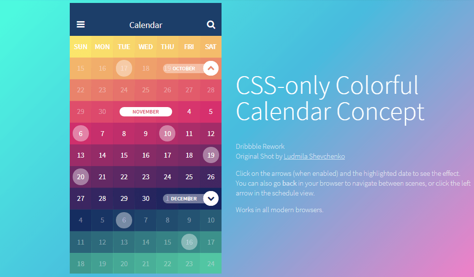 colorful calendar with CSS