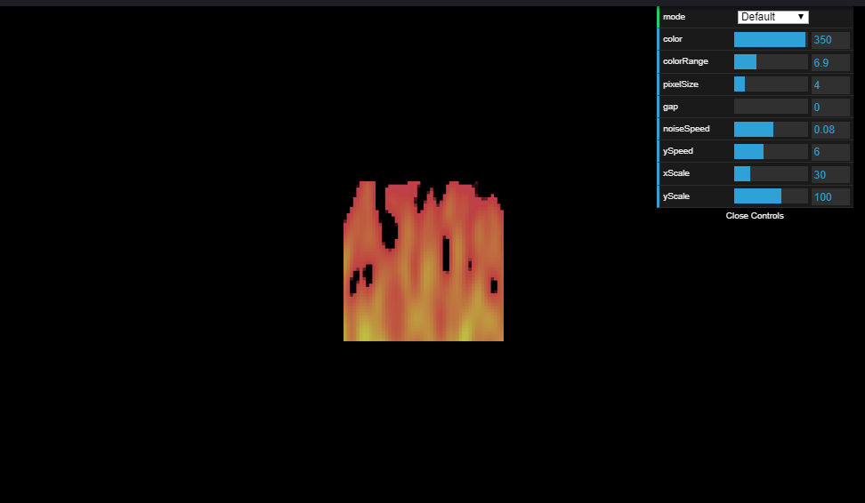Configurable fire animation effect