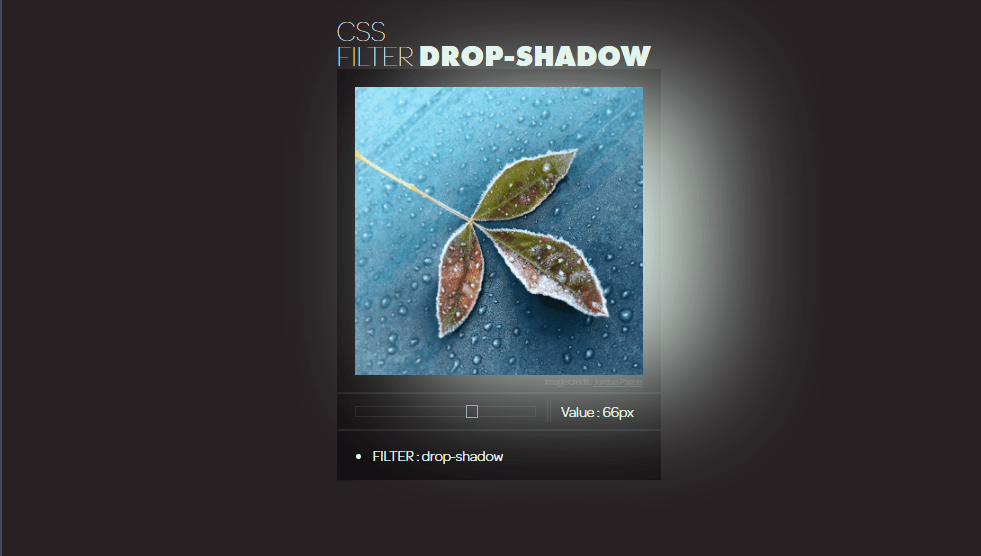 drop shadow effect for image using css